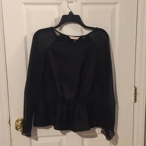 Rebecca Taylor black top with sheer arms